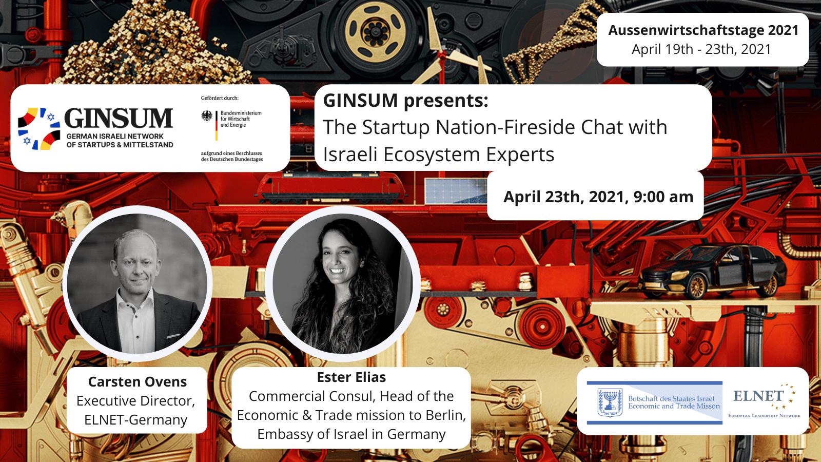 Außenwirtschaftstage 2021 - GINSUM presents: The Startup Nation–Fireside Chat with Israeli Ecosystem Expert